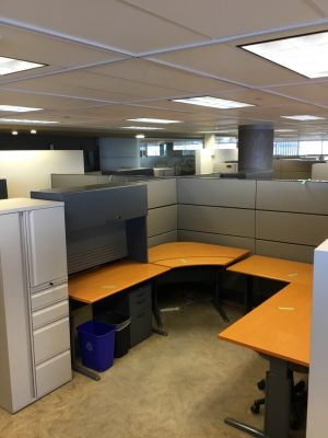 Teknion Transit Series workstation, overhead cabinet, and cabinet
