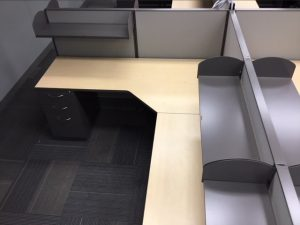 AIS L-shape modular workstation with shelves