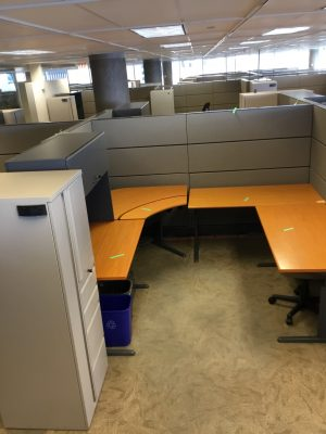 Teknion Transit Series workstation, cabinet, and overhead cabinet