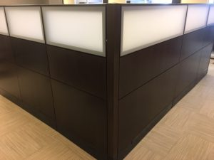 Used Haworth Premise N-series panels with frosted Plexiglas
