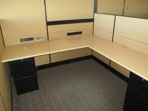 Teknion Leverage Series Tan L-shaped Workstations