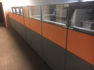 Teknion Leverage Series panels with glass
