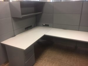 Teknion Leverage L-shaped workstations