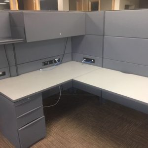 Teknion Leverage Series L-shaped workstations